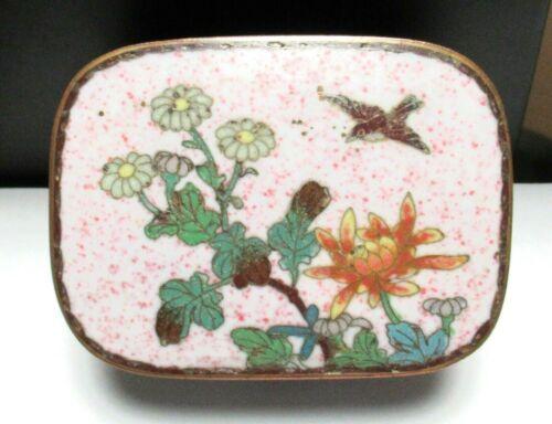 JAPANESE CLOISONNE ENAMEL FLORAL BIRDS TRINKET JAR BOX