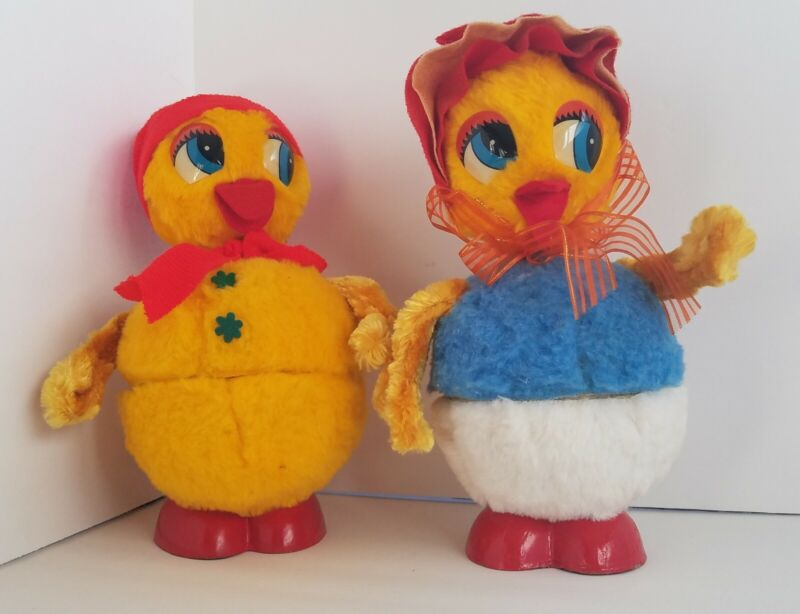 PAIR of Vintage Furry Easter LARGE Ducks West Germany Bobble Head 11 Inches Tall