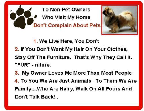 Funny Tibetan Spaniel Dog Rules Refrigerator / Locker  Magnet Gift Card Insert