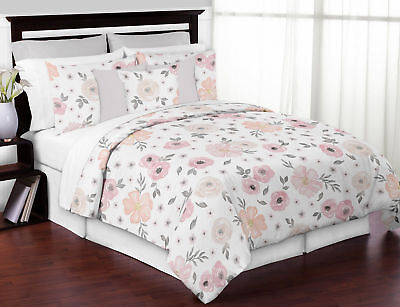 Jojo Shabby Chic Pink Dreary Watercolor Floral Teen Girl Full Queen Bedding Set