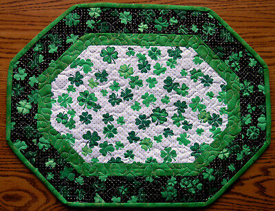 Handcrafted Quilted Table Runner Topper ST PATRICK'S DAY SHAMROCK CLOVER GREEN