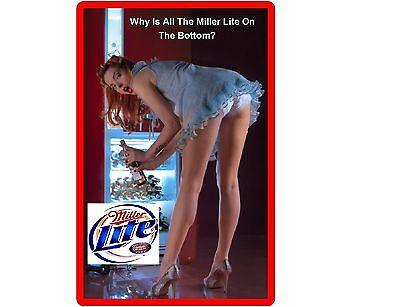 Funny Sexy Miller Lite Beer Girl Bending Refrigerator/Tool Box Magnet Man - Lite Girl