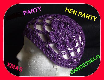 NEW SPARKLY  PURPLE CROCHET HAT HEN  PARTY 1970s DISCO DANCE fancy Dress abba