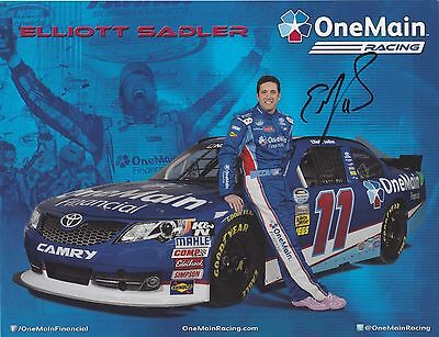Elliott Sadler Autographed  Onemain Financial  8 5X11 Nascar Hero Card