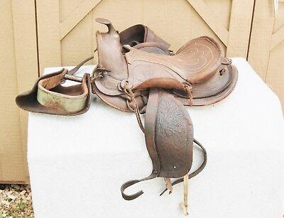 Pony Saddle Vintage Tooled Leather Decor Wall Hanger Numbered & 1 Strirrup Wood