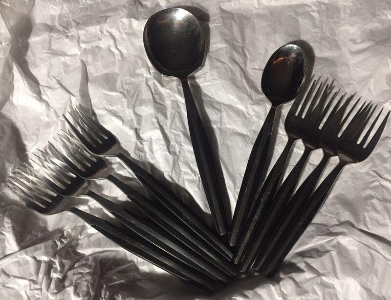 Vintage MCM ELDAN MID CENTURY MODERN STAINLESS Flatware BLACK JAPAN 10 Piece Lot