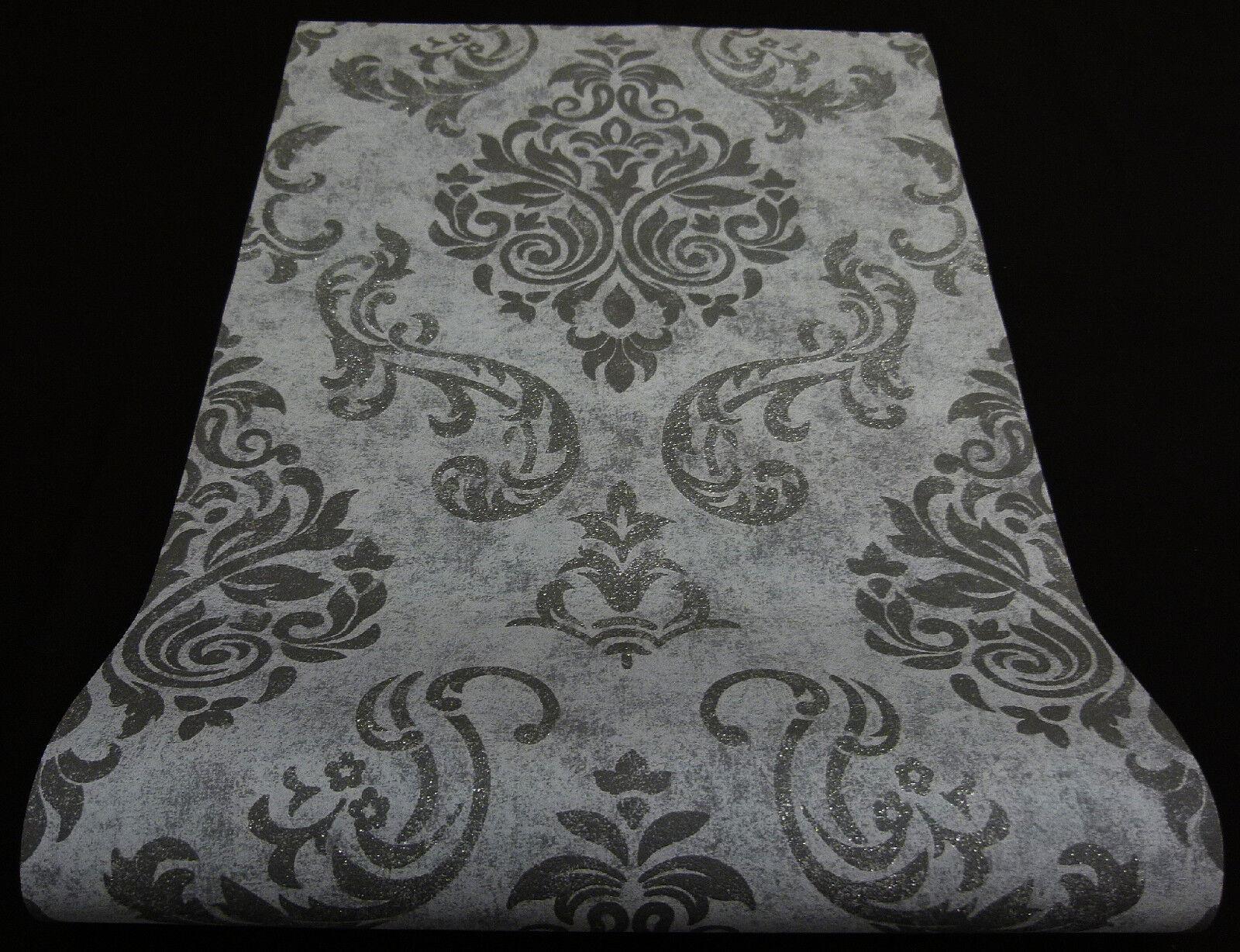 """95372-3)  Design Vliestapete """"Memory"""" Ornament Design mit Glanz schwarz grau"""