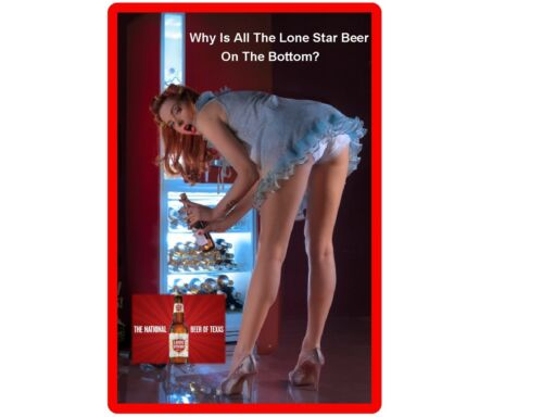 Funny Sexy Lonestar Beer Girl Bending Refrigerator/Tool Box Magnet Man Cave