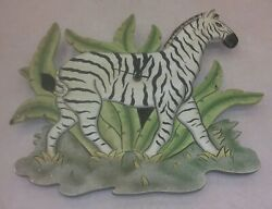 Zebra Africa Theme Wall Clock(Batt Operated )16 in. Wide 14 in. Tall 1/2 Thick