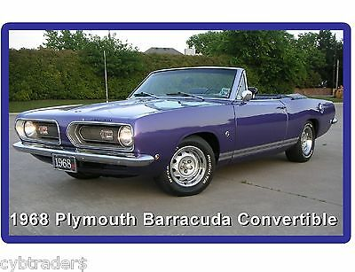 1968 Plymouth Barracuda Convertible  Auto Refrigerator / Tool Box Magnet