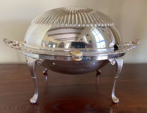 Striking Harrison Bros & Howson Silver Plate Footed Food Server Domed Roll Top