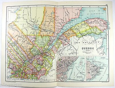 Original 1909 Map of Quebec, Canada - by John Bartholomew