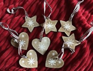 8 Nordic / Scandinavian Wooden Hearts Stars Christmas Tree Hanging Decorations
