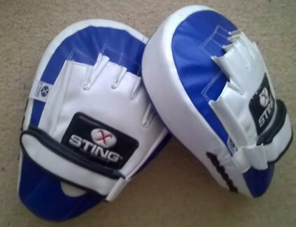 Sting Blue and White Focus Mitts