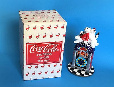 Coca Cola Juke Box Disco Nights Polar Bear 2001 Boy Girl Figurine In Box