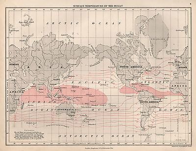 1889 ANTIQUE MAP WORLD SURFACE TEMPERATURES OF THE OCEAN