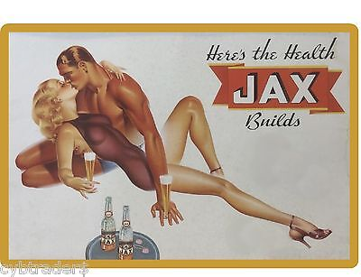 Jax Beer Couple 1940's  Refrigerator / Tool Box  Magnet Man Cave