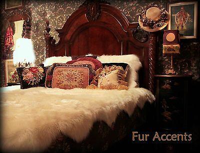 FUR ACCENTS Faux Fur Bedspread Off White Scallop Sheepskin S