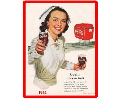 1952 Coke Cola Nurse Ad  Refrigerator / Tool Box  Magnet Man Cave