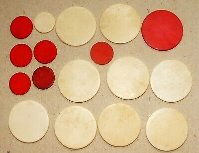 17 x ANTIQUE CHINESE BONE GAMING COUNTERS-31mm and 17mm