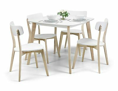 Julian Bowen Casa White Limed Oak Finish Table & 4 Dining Chairs Set Solid Wood