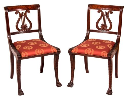 SWC-Pair of Classical Lyre-Back Mahogany Side Chairs