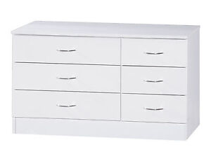 Alpha White High Gloss Two Tone | Wide 3+3 Drawer Chest | Modern Furniture Unit
