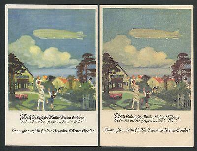 DR ZEPPELIN-ECKENER-SPENDE 1926 2 KARTEN VERSCHIEDENE DRUCKEREI-ZEICHEN !! h0849