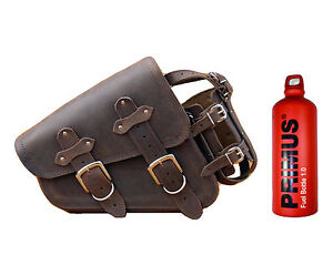 HARLEY DAVIDSON SPORTSTER BROWN LEATHER  LEFT SIDED SINGLE SADDLE BAG+1L BOTTLE