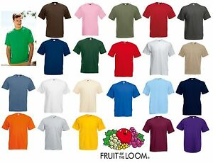 New-Mens-Plain-Fruit-Of-The-Loom-Valueweight-T-Shirt-In-23-Colours