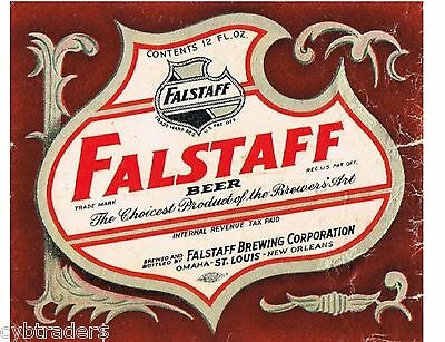 Falstaff Beer Label 1940's  Refrigerator /  Tool Box  Magnet Man Cave