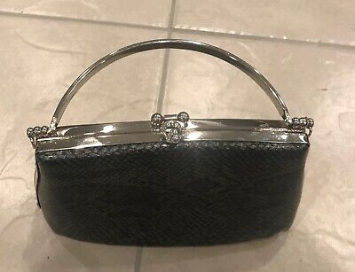 Bijoux Terner black gray clutch handbag silver clasp accents small evening (Accented Clutch Handbag)