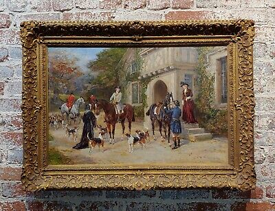 Heywood Hardy -Getting ready for the Fox Hunt-19th century Sporting Oil painting