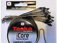 5x TASKA Leadcore Leader 45lb camo-grün mit Safety Clip/&Quick Change Swivel