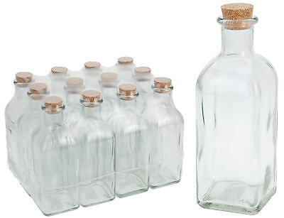 12 Glass Bottles with Cork Stoppers 125ml or 500ml Glass Vials Craft Bottles