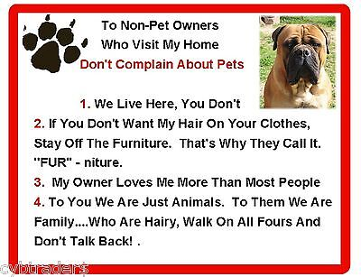 Funny Dog Bull Mastiff  House Rules Refrigerator / Magnet Gift Card Insert