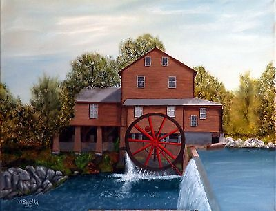 """""""MILL SCENE""""= Orig. oil painting by O.Barella. Won 1st Place in 2014 at Fair"""