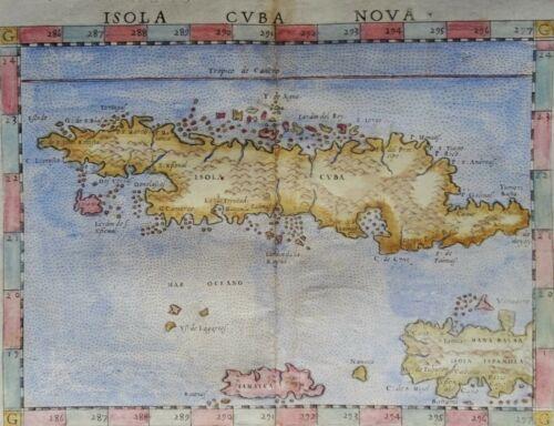 Cuba, Jamaica, Haiti, first edition Ruscelli / Valgrisi, 1561, Isola Cuba Nova