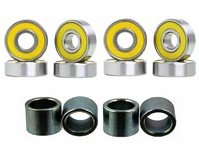 Abec-7 608 Double Shield Skateboard Bearings and Spacers - Yellow