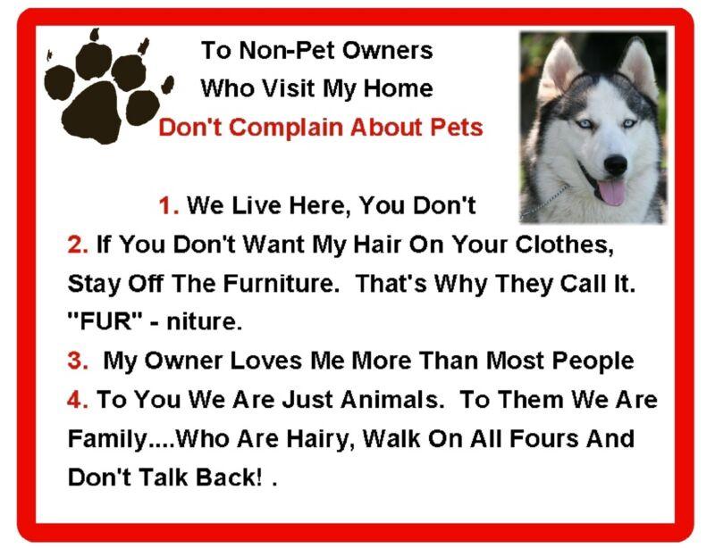 Funny Dog Siberian Husky House Rules Refrigerator / Magnet Gift Card Insert