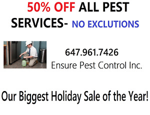 OUR BIGGEST SLAE OF THE YEAR: 50% OFF ALL PEST SERVICES!