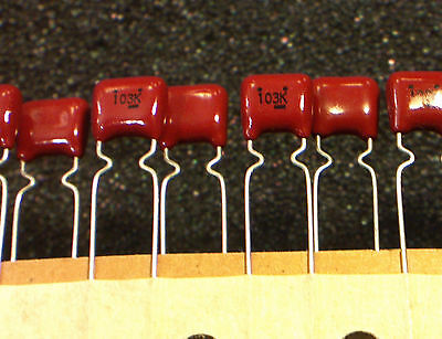 20x 0.01uf 10nf 50v Red Polyester Capacitors 103 - 20pcs