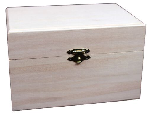 """Wooden Recipe Box w/ Hinged Lid & Front Clasp, Unfinished - 6.75"""" x 4.5"""" x 4.25"""""""