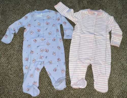 NWT HANNA ANDERSSON 2-pack Baby Snap Footed Sleeper Organic Cotton 50 0-3 mo