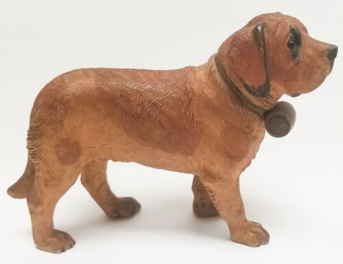 Antique 6.25in St Bernard Dog and Cask Black Forest Wood Swiss Carving Brienz 48