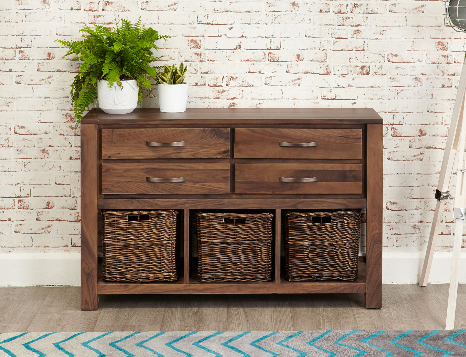 Details About Mayan Dark Wood Console Table 4 Drawers And Wicker Baskets Storage Solid Walnut
