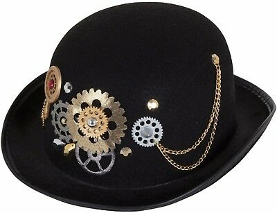 Mens Steampunk Victorian Inventor Black Bowler Hat Fancy Dress Costume Outfit