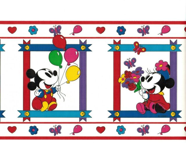 disney mickey mouse in frames balloon wallpaper border nursery kids room decor - Mickey Mouse Picture Frames