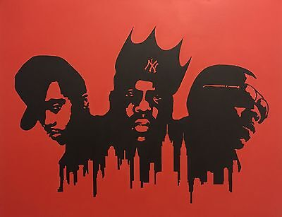 Nas Biggie Jay-Z NYC Skyline 22x28 On Stretched Canvas Pop Art Hip Hop Acrylic