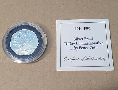 1994 Royal Mint D-Day Landings Silver Proof Fifty Pence 50p coin, COA, Rare